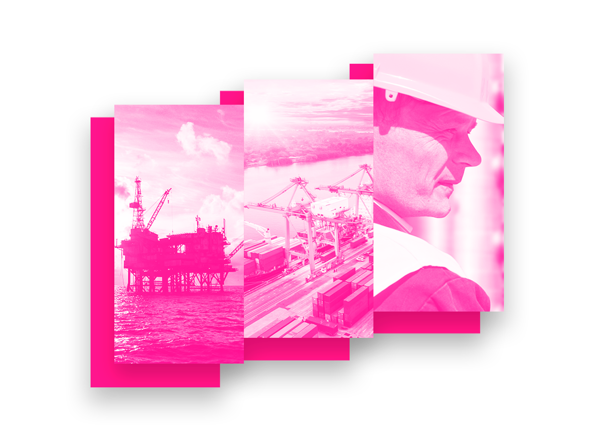 Use our LMS health and safety training for oil, gas, maritime, and more industries, shown here with images of offshore sites and a construction worker.